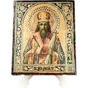 19th Century Russian Icon Saint Theodosius