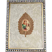 19th Exceptional Holy Card Education of Virgin Mary Micro Mosaic Frame