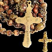19th Century Rosary Indulgence Cross Ox Bone Beads