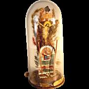 German Folk Art Devotional Piece Glass Dome with Crucifix