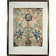 Stunning  Silk Collage Saint Catherine  Life Tree 19th Century