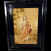 Fine Embroidery Jesus ca. 1900