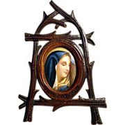 House Altar Hand Carved Frame and Porcelain Medallion Blue Virgin