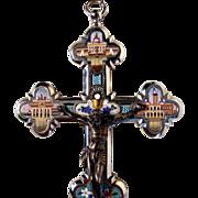 Stunning Micro Mosaic Cross Crucifix Chalice Roman Basilica Views ca. 1880