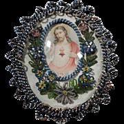 Monastery Work Reliquary Jesus Sacred Heart Beaded Frame