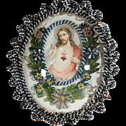 Convent Work Reliquary Jesus Sacred Heart Beaded Frame