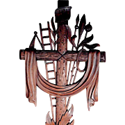 Hand Carved Cross Instruments of the Passion  Arma Christi ca. 1900 Large!