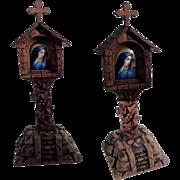 Hand Carved Wooden Shrine Martel Painted Porcelain Plaque Virgin