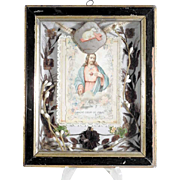 19th Century French Memento Hair Work Divine Mercy Lamb of God
