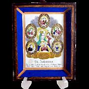 Late Baroque Monastery Work Devotional Saint Johanna and Five Saints Shadow Case
