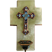 Small Enamel Cross with Holy Water Font Chalice