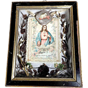 Unusual Memento Mourning Piece French Hair Work Divine Mercy Lamb of God