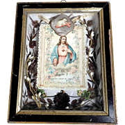 19th Century Memento Mourning Piece French Hair Work Divine Mercy Lamb of God