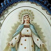 Holy Card Finest Framed Engraving Virgin Mary Glass Beads Frame