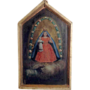 19th Century Votiv Painting Virgin Mary and Jesus - Rare Folk Art Exhibit!