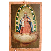 19th Century Rare Folk Art Painting Virgin Mary
