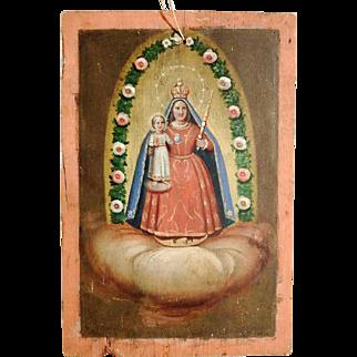 19th Century Rare Folk Art Painting Virgin Mary