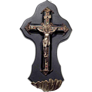 19th Century Superb Little Wall Crucifix Holy Water Font