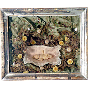 Reliquary Wax Baby Jesus Shadow Box Votive ca. 1900