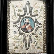 19th Century Saint Ignatius of Loyola  Monastery Work Painting and Embroidery
