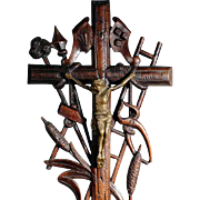 19th Century Crucifix with Passion Instruments Folk Art Carving Black Forest