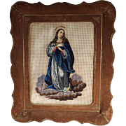 Beautiful Beadwork Praying Virgin 1. Half of the 19th Century
