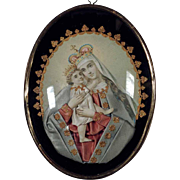 19th Century German  Devotional Object Reliquary Virgin Mary and Jesus