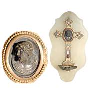 19C French Napoleon III Holy Water Font – Mann of Sorrows