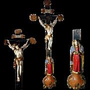 Stunning  Crucifix Jesus Mater Dolorosa German Folk Art
