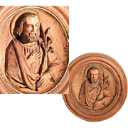 Saint Joseph Hand Carved Wall Plaque Dated 1877