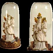 19th Century German Folk Art Miniature Devotional Piece Glass Dome Virgin Mary Wax Sculpture