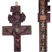 Exceptional Hand Carved Reliquary Cross God Father Jesus Our Lady of Sorrows Arma Christi