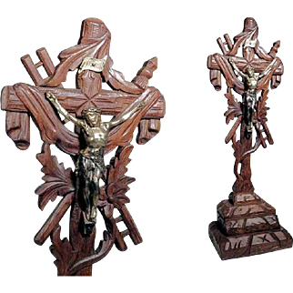 Golgatha Cross Crucifix Wooden Carving ca. 1920
