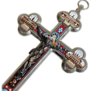 Micro Mosaic Bottony Cross Crucifix Four Roman Views ca. 1880 Rare Colors