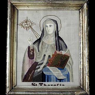 19th Century Saint Teresa Silk Embroidery