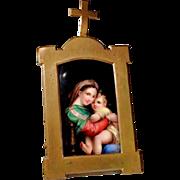 "19C Home Retable with Painted Porcelain Plaque ""Madonna della Sedia"""