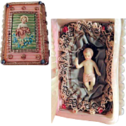 19th Century  Monastery Work Baby Jesus Book Shape Wax