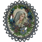 Superb Reliquary Virgin Mary Glass Beads