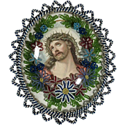 German Reliquary Jesus Glass Beads