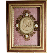 Hand Crafted Monastery Work Virgin Wax Medallion Shadow Box
