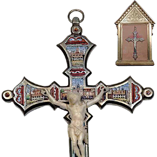 Micro Mosaic Cross Crucifix  with Show Panel Display