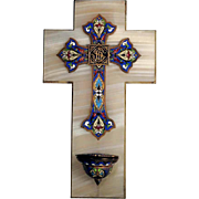 Superb Holy Water Font Enamel Cross on Marble ca. 1880