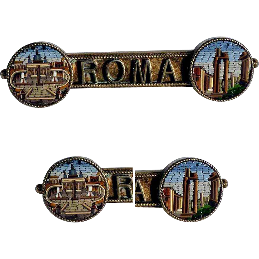 19th Century Two Medallions Micro Mosaic Brooch Rome Views
