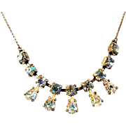 Fine Silver Necklace Racy Rhinestones Art Deco Era