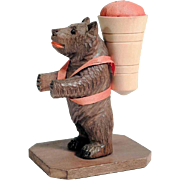 Hand Carved Bear Pin Cushion  Black Forest