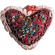 Hand Crafted Heart Shape Pin Cushion Bead Work