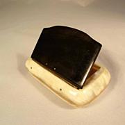 19C Horn Bicolor Snuff Box Flap Lid