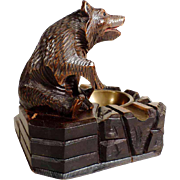 Hand Carved Bear Smoker Servant   Black Forest