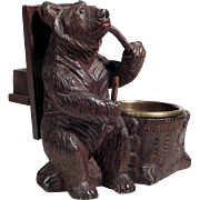 Excellent  Smoker Stand with Smoking Bear Hand Carved Black Forest