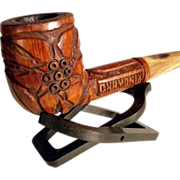 Hand Carved French Wooden Pipe Edelweiss Motif
